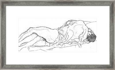 Couple In Bed Framed Print by Gustav Klimt