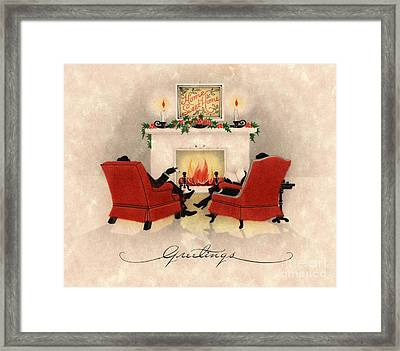 Couple Sitting Before Roaring Fireplace On Christmas Eve Framed Print by American School