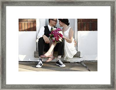 Couple Sitting Closely After Wedding Framed Print by Gillham Studios
