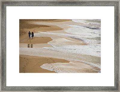 Couple Walking Makena Beach Framed Print by Panoramic Images