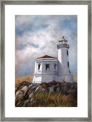 Couquille River Lighthouse  Bandon Ore. Framed Print by Lynne Parker