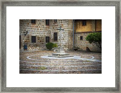 Courtyard At Convent Of The Incarnation Framed Print by Joan Carroll