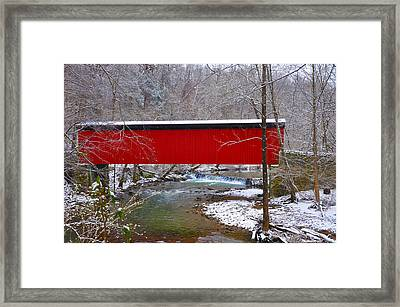 Covered Bridge Along The Wissahickon Creek Framed Print by Bill Cannon