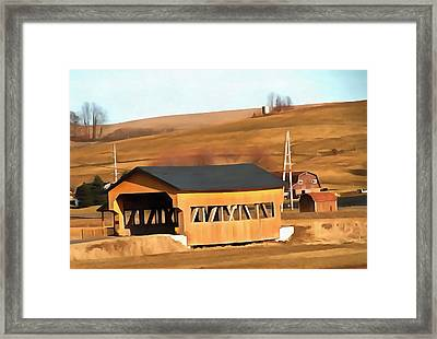 Covered Bridge In Amish Country Ohio Framed Print by Dan Sproul