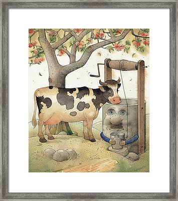 Cow And Well Framed Print by Kestutis Kasparavicius
