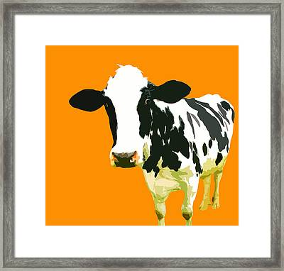Cow In Orange World Framed Print by Peter Oconor