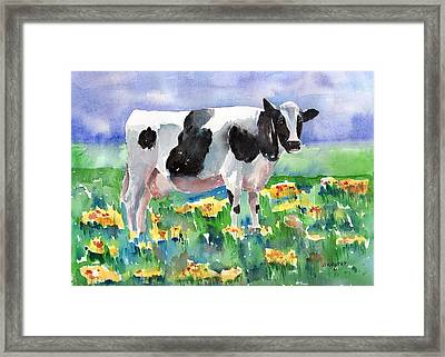 Cow In The Meadow Framed Print by Arline Wagner