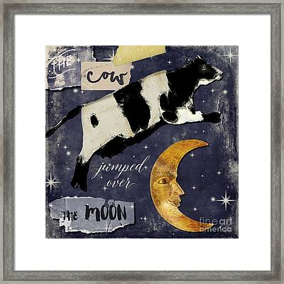Man In The Moon Framed Print featuring the painting Cow Jumped Over The Moon by Mindy Sommers