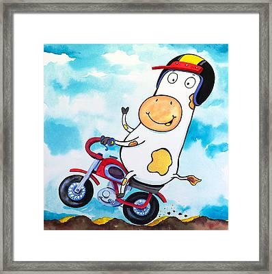 Cow Motocross Framed Print by Scott Nelson
