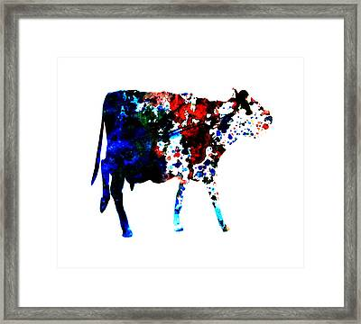 Cow Paint Splatter Framed Print by Brian Reaves
