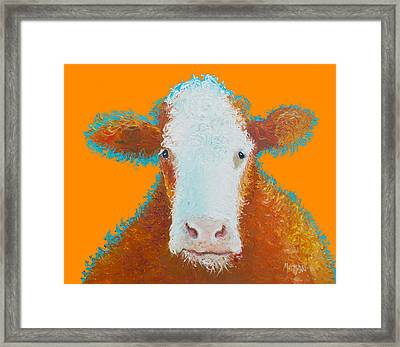 Cow Painting - Brown Hereford Framed Print by Jan Matson