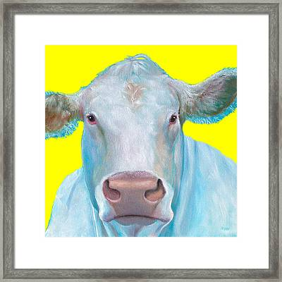 Cow Painting - Charolais Cattle Framed Print by Jan Matson