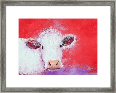 Cow Painting - Charolais Framed Print by Jan Matson