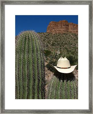 Cowboy Cactu S Framed Print by Andrea Arnold
