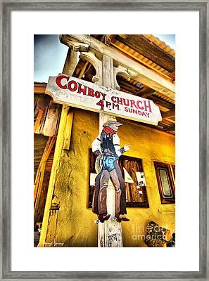 Cowboy Church Framed Print by Cheryl Young
