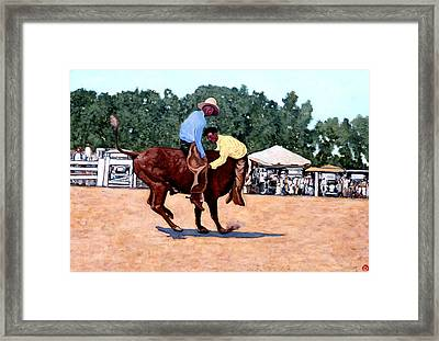 Cowboy Conundrum Framed Print by Tom Roderick
