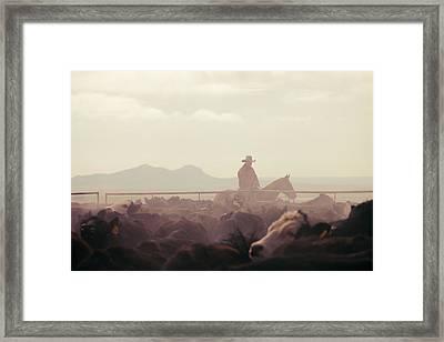 Cowboy Dawn Framed Print by Todd Klassy