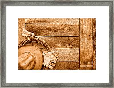 Cowboy Gear On The Floor - Sepia Framed Print by Olivier Le Queinec