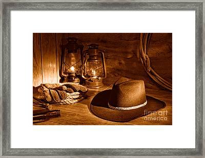 Cowboy Hat And Kerosene Lanterns - Sepia Framed Print by Olivier Le Queinec