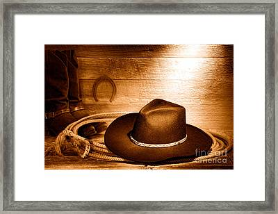 Cowboy Hat On Lasso - Sepia Framed Print by Olivier Le Queinec