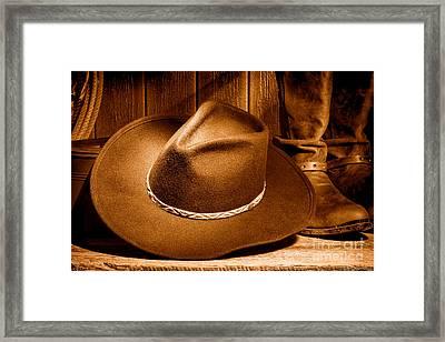 Cowboy Hat - Sepia Framed Print by Olivier Le Queinec