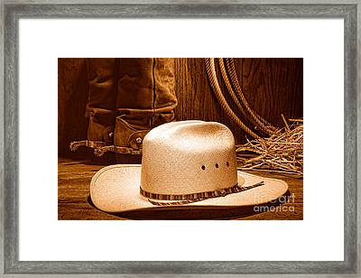 Cowboy Hat With Western Boots - Sepia Framed Print by Olivier Le Queinec
