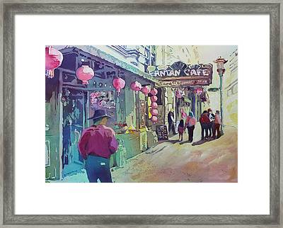 Cowboy In Chinatown Framed Print by Jenny Armitage