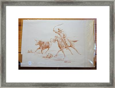 Cowboy Roping A Steer Framed Print by Smart Healthy Life