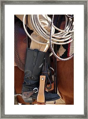 Cowboy Tack Framed Print by Joan Carroll