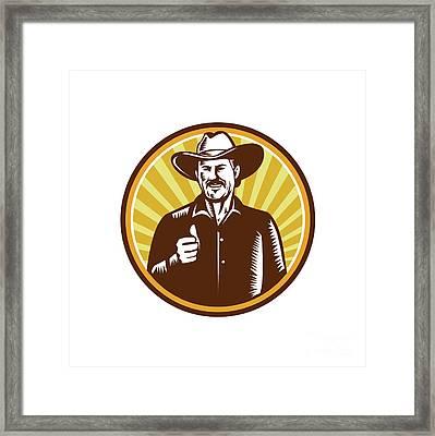 Cowboy Thumbs Up Sunburst Circle Woodcut Framed Print by Aloysius Patrimonio