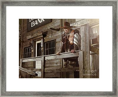 Cowboy Waiting Outside Of A Bank Building Framed Print by Oleksiy Maksymenko