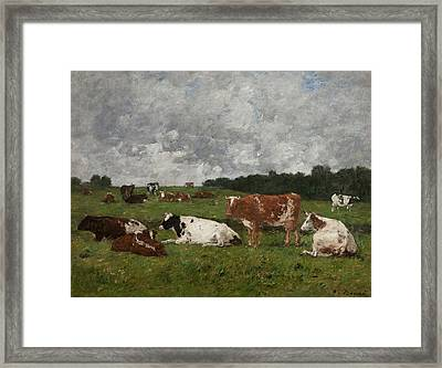 Cows At The Pasture Framed Print by Eugene Louis Boudin