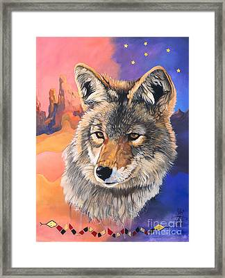 Coyote The Trickster Framed Print by J W Baker
