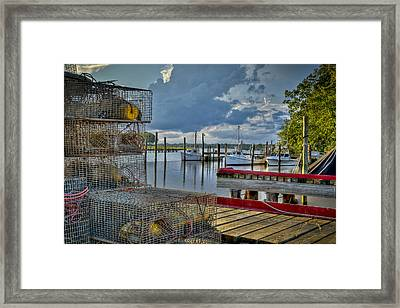 Crabpots And Fishing Boats Framed Print by Williams-Cairns Photography LLC