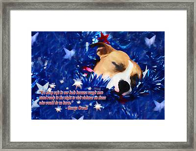 Cradled By A Blanket Of Stars And Stripes - Quote Framed Print by Shelley Neff