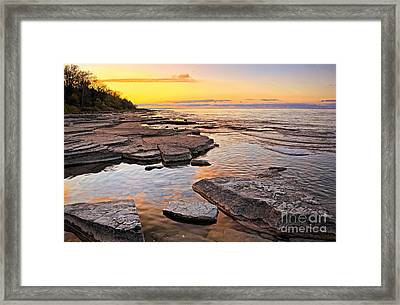 Sunset Reflections On Rock Millions Years Old Framed Print by Charline Xia