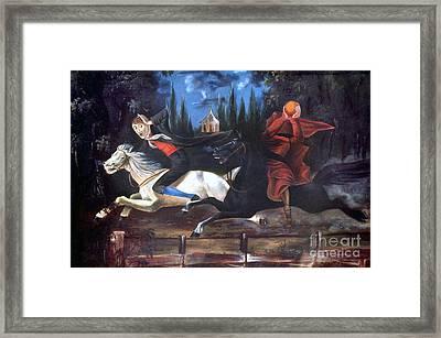 Crane And Horseman Framed Print by Granger