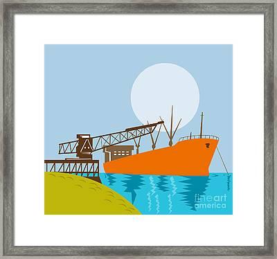 Crane Loading A Ship Framed Print by Aloysius Patrimonio