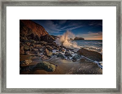 Crashing Waves On Rodeo Beach Framed Print by Rick Berk