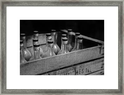 Crate Of Antique Beer Bottles Framed Print by Mountain Dreams