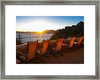 Crater Lake Lodge Porch Sunrise Framed Print by Scott McGuire