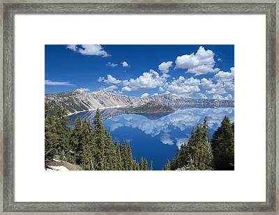 Crater Lake Reflections Framed Print by Loree Johnson