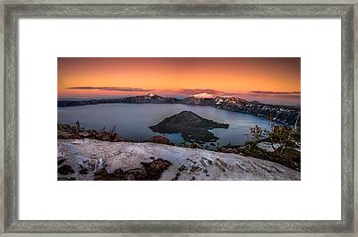 Crater Lake Summer Sunset Framed Print by Scott McGuire