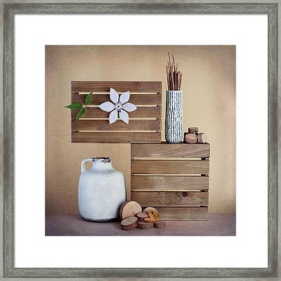 Crates With Flower Still Life Framed Print by Tom Mc Nemar