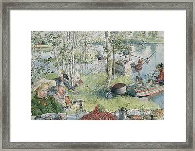 Crayfishing Framed Print by Carl Larsson