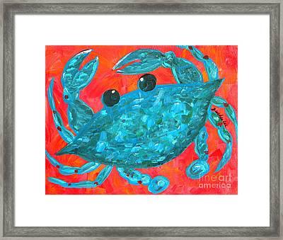 Crazy Blue Crab Framed Print by JoAnn Wheeler