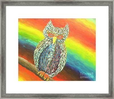 Crazy Wild Owl Framed Print by Kimberly Vandenberg