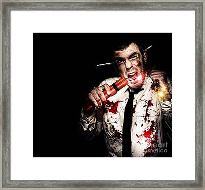 Crazy Zombie Businessman With Dynamite Explosives Framed Print by Jorgo Photography - Wall Art Gallery