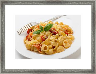 Cream And Tomato Pasta With Fork Framed Print by Paul Cowan