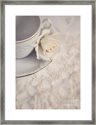Cream Rose On White China Cup Framed Print by Lyn Randle